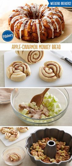 Everyone loves the apple-cinnamon flavor especially in monkey bread! This easy recipe for Apple-Cinnamon Monkey bread is made from cinnamon rolls, apples and cinnamon sugar. Perfect for Thanksgiving o (Christmas Bake Cinnamon Rolls) Cinnamon Monkey Bread, Apple Monkey Bread, Apple Bread, Monkey Bread Easy, Cinnamon Butter, Banana Bread, Apple Recipes, Fall Recipes, Bon Appetit