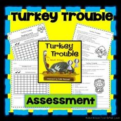 Turkey Trouble Activities will help students understand plot with comprehension questions, games, vocabulary, grammar, fluency, phonics, comprehension strategies, sequencing, writing, and a comprehension test with answer key! Turkey Trouble, Robin Wilson, Comprehension Strategies, Guided Reading, Classroom Activities, First Grade, Phonics, Vocabulary, Student