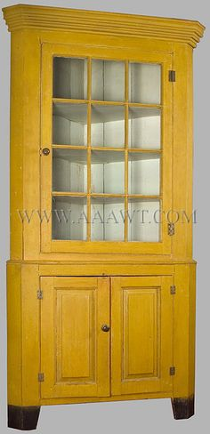 """Circa New England corner cupboard in original yellow paint, feet tall; facing is about 36 inches wide, 41 inches wide with shallow """"turkey breast"""" wings; takes a corner. Primitive Furniture, Country Furniture, Country Decor, Antique Furniture, Painted Furniture, Distressed Furniture, Modern Furniture, Furniture Design, Yellow Cupboards"""