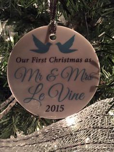 First Christmas Doves Ornament | Personalized Holiday Ornament | Personalized Gift | Customer Photo | peachwik.com