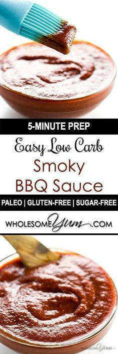 Low Carb BBQ Sauce (Sugar-free, Gluten-free) - This sugar-free, gluten-free, low carb BBQ sauce recipe is sweet, smoky, spicy & tangy in one. Super easy too, with only 5 minutes prep time!