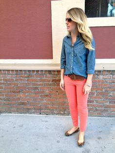 chambray & coral. could totally recreate this outfit have all the pieces.