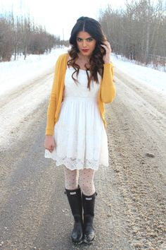 Eleni looks really yummy in her white Dress, Tights and Wellingtons