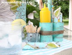 Soup can caddy, perfect for a summer patio party tablescape! by sow and dipity