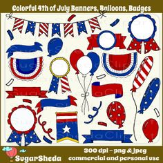 Hand Drawn Colorful #July4th Banners, Balloons, and Badges- 4th of July #clipart, #patriotic clipart, usa clipart, personal and commercial use