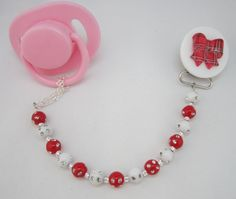 Red Bow Pacifier clip with Stunning Mini Beads by mycrystaldream