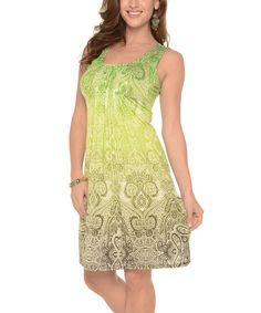 Look at this #zulilyfind! Shoreline Green Paisley Sleeveless A-Line Dress by Shoreline #zulilyfinds