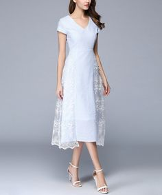 Take a look at this LAKLOOK Light Blue Stripe Lace-Accent Midi Dress today!