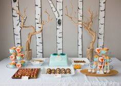Make trees like this for photo booth backdrop. Simply birch trees painted on paper & cut out. Adhered to wall with sticky tack.