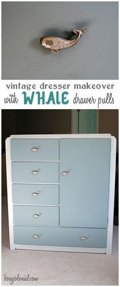 Nursery dresser with whale pulls