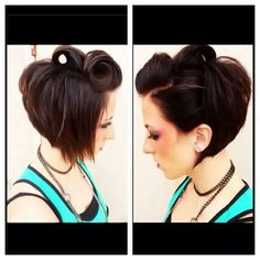 Short hair victory rolls This haircut style is too cute Formal Hairstyles For Short Hair, Fancy Hairstyles, Short Hair Styles, Hairdos, Victory Roll Hair, Victory Rolls, Rockabilly Short Hair, Rockabilly Makeup, 50s Makeup