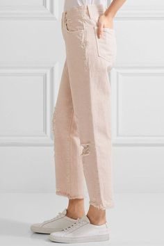 J Brand - Ivy Cropped Distressed High-rise Straight-leg Jeans - Pastel pink - 26