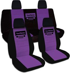 Jeep Wrangler JK (2011 to 2016) Two-Tone Grill Seat Covers w Your Name: Black and Purple - Full Set (21 Colors Available), http://www.amazon.com/dp/B00OXMGIJS/ref=cm_sw_r_pi_s_awdm_i0QFxbGHA7MCY