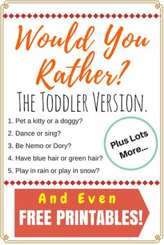 I've been looking for a great list of would you rather questions to do for kids and this is it! This not only has funny questions for school aged kids but even a toddler version full of humor! It's so creative and fun. Not to mention a free printable! Couldn't be easier to enjoy a great would you rather game with your children.
