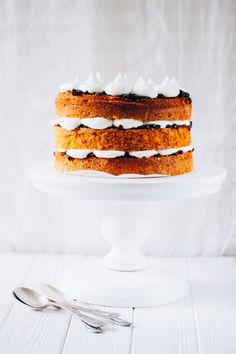 Naked cardamom cake with mascarpone frosting and fruit preserves