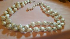 VTG NECKLACE JAPAN S-HOOK TWO STRAND WHITE BEADS LIGHT WEIGHT   #Unknown #StrandString