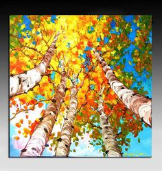 Painting - Etsy Art - Page 4 Autumn Painting, Autumn Art, Wine And Paint Night, Landscape Paintings, Fall Paintings, Birch Tree Art, Fall Art Projects, Hawaiian Art, Watercolor Artwork