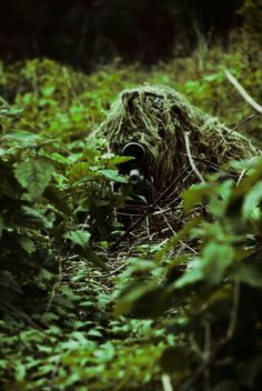 USMC Sniper in Ghillie Suit and a scoped Sniper Rifle with spotter~ Le Sniper, Sniper Gear, Tactical Gear, Airsoft Sniper, Military Weapons, Military Art, Military Soldier, Military Life, Ghillie Suit