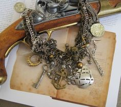 Along the Spanish Main: Pirate Queen Treasures Vintage Assemblage Necklace One of a KInd OOAK. $425.00, via Etsy.