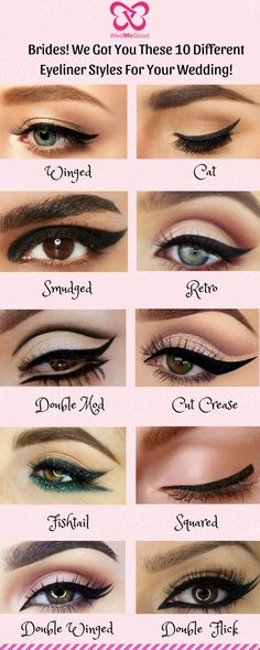 Be it a Winged or a Cat Eyeliner! We Got You These 10 Different Eyeliner Styles for Your Wedding! - Be it a Winged or a Cat Eyeliner! We Got You These 10 Different Eyeliner Styles for Your Wedding! Makeup Eye Looks, Eye Makeup Steps, Eyebrow Makeup, Eyeshadow Makeup, Eyeshadow Ideas, Eyeliner Make-up, Eyeliner Types, Simple Eyeliner, Eyeliner Tattoo