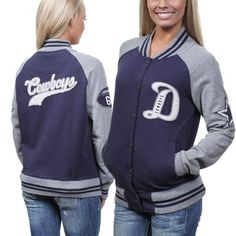 Dallas+Cowboys+Ladies+Grenadiers+Full+Button+Letter+Jacket+-+Navy+Blue/Silver #Fanatics