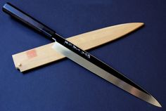 "Honyaki Mirror-Finished Yanagi Sashimi Knife 11.7"" (300mm) Ebony Handle"