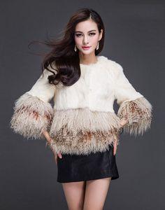New 100% Real Rabbit Mongolia Sheep Fur Coat Jacket Overcoat Garment Clothing #Frrfox #BasicJacket