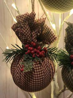 Items similar to Rustic Fabric Christmas Ornament, Plaid Fabric Christmas Ornaments, Christmas Ornaments, Handmade Christmas Ornaments on Etsy Modern Christmas Ornaments, Christmas Ornament Crafts, Primitive Christmas, Handmade Christmas, Holiday Crafts, Christmas Wreaths, Christmas Decorations, Christmas Fabric, Christmas Christmas