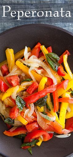 Peperonata ~ Italian bell pepper, onion, tomato sauté, with garlic, ground oregano, and fresh basil. ~ SimplyRecipes.com
