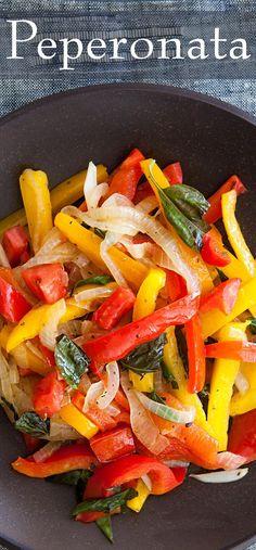 Peperonata ~ Italian bell pepper, onion, tomato sauté, with garlic, ground oregano, and fresh basil. ~ SimplyRecipes.com