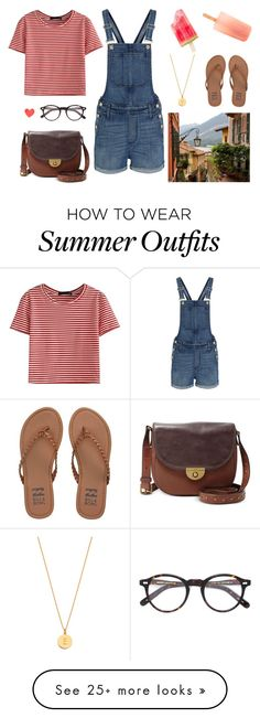 """""""character outfits // emmie + summer vacation"""" by freckledreams on Polyvore featuring Kate Spade, WithChic, Madewell, Moscot, FOSSIL, Billabong, denim, stripes and jumpsuit"""