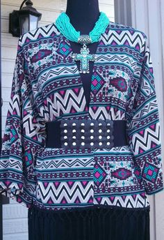 Gorgeous Aztec kimono..Can wear open with jeans or belted with a dress or skirt...Kimono and belt on sale..