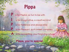 Acrostic Name Poems For Girls: Pippa