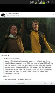 this is very true, seeing his father scream in agony over his fallen son ruined me!!!! But fr, the fourth HP book is really the end of the happier HP times and Harry's 1st-3rd year at Hogwarts⚡️⚡️