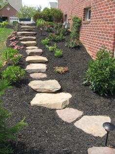 Outdoor Stone Patio and Steps - After Poole's Stone and Garden Designs in Frederick, Chevy Chase, Ellicott City MD & Leesburg VA Landscape Stairs, Landscape Design, Garden Design, Stone Stairs, Stone Walkway, Stone Path, Stone Walls, Concrete Stairs, Side Yard Landscaping