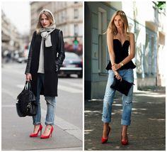 Παντελόνια και κόκκινες γόβες, ο απόλυτος συνδυασμός. #Street_style