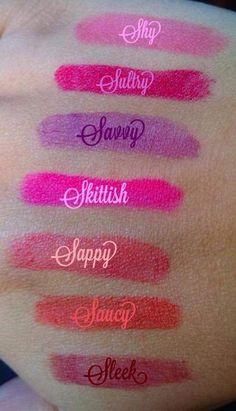Younique Stiff Upper Lip lip stain swatches