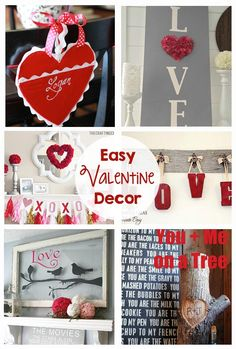 Easy Valentine Decor - mantel inspiration, wreath, diy, signs, pillows, centerpiece, love letter station - I love all of these simple valentine ideas!