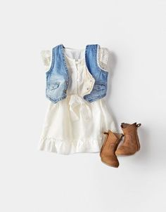 this is the cutest outfit ever for a little girl…baby cowboy boots, jean vest, white dress :)