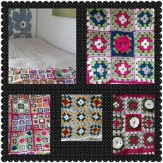 Granny square quilt with flowers