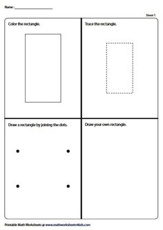 Color, Trace, Connect and Draw a Rectangle Introduction To Geometry, Geometry Worksheets, Shapes For Kids, Learning Shapes, Numeracy, Fun Activities, Bar Chart, Connect, Draw