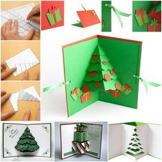 How to DIY 3D Pop Up Christmas Tree Card | www.FabArtDIY.com