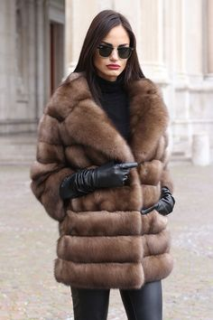 Tortora Dyed Russian Sable Fur Jacket