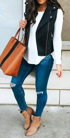 #fall #outfits Black Vest White Knit Ripped Skinny Jeans Beige Leather Booties #Vests