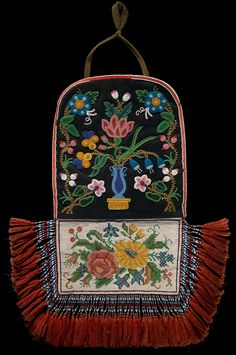 Cree Métis Bag c. 1875 Manitoba, Canada.  Wool cloth, beads, silk.  Mrs. E.C. McDonald Collection; Infinity of Nations: Art and History in the Collections of the National Museum of the American Indian - George Gustav Heye Center, New York; beading, beadwork, bead work, emroidery