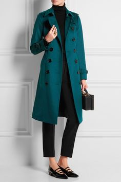 Love this color. (Burberry London | Brushed-cashmere Trench Coat)