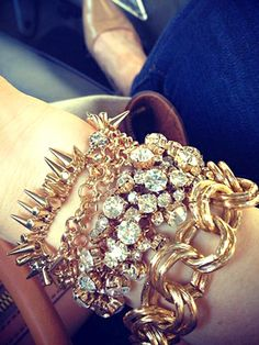 arm party, rhinestones, gold studs, silver studs, crystal bracelets, bangles, glam jewelry