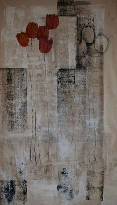 Bobby Britnell -- Tulips on Tiptoes 1: quilt, worked on natural scoured cotton, with applied gesso and printing