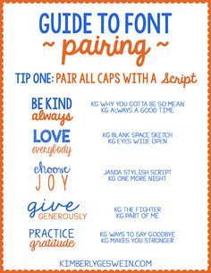 Font Pairing Guide #1  These guides will give you great tips on how to pair fonts.