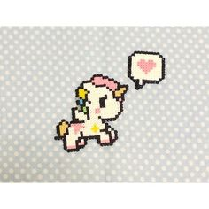 Kawaii Unicorn Hama Beads Keychain by CreepyMermaiid on Etsy Melty Bead Patterns, Perler Patterns, Beading Patterns, Cross Stitching, Cross Stitch Embroidery, Hama Beads Kawaii, Hama Beads Design, Peler Beads, Square Patterns